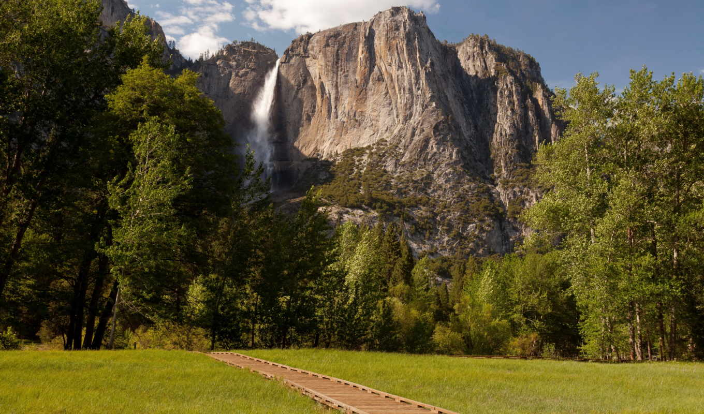 природа, usa, парки, yosemite, landscape, горы, cliff, national, park, water,