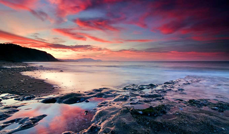 zakat, берег, розовый, more, красивым, priroda, заставки, ni,