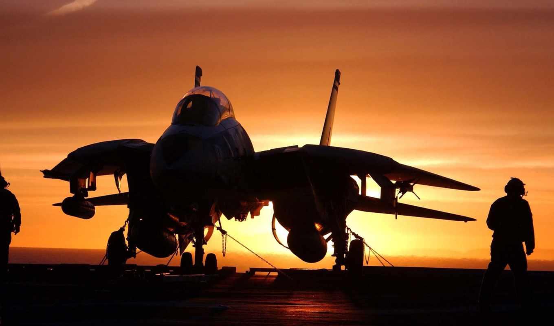 самолёт, ocean, авианосец, закат, истребитель, красивый,
