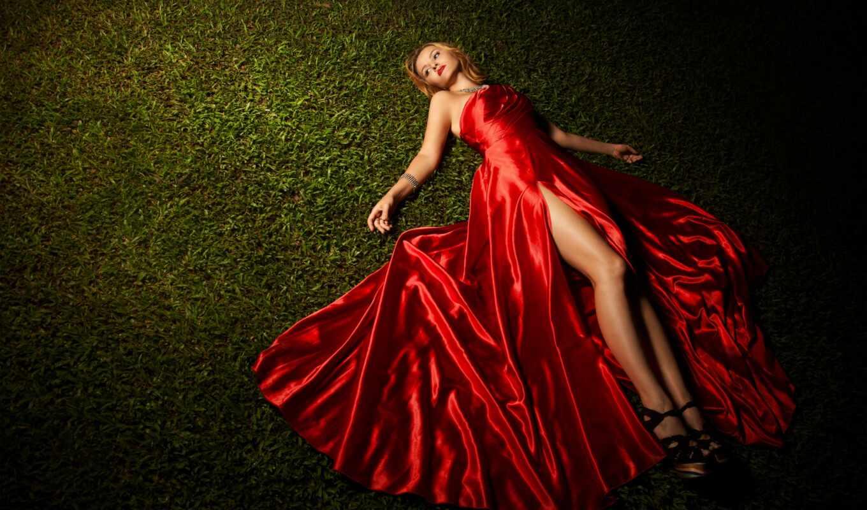 платье, девушка, красном, вечернем, stock, красное, трава, лежит, клипарт,