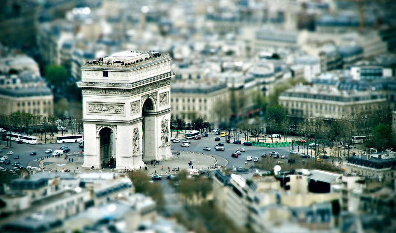 триумфальная арка, париж, площадь, обзор, город