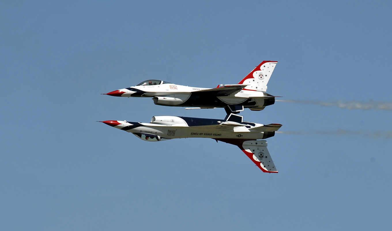 ввс, сша, небо, буревестники, зеркало, пилотажная, истребитель, полет, авиация, группа, самолёт, thunderbirds, calypso, vvs, falcon, fighting,