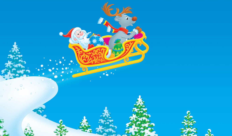 год, новый, сани, зима, снег, дед, елки, рисунок, мороз, праздник, christmas, олень, santa,