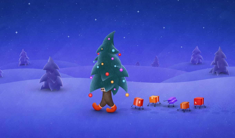 зима, елка, снег, праздник, подарки, ночь, christmas, широкоформатные, navidad, новый, год, заставки,