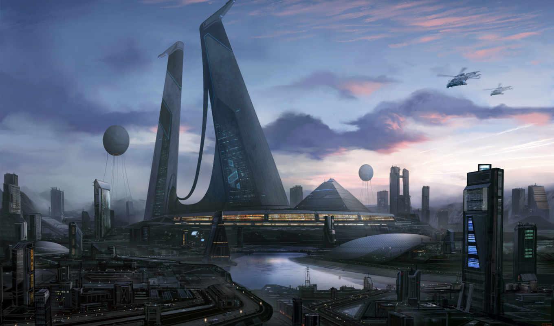 будущее, город, cities, final, fantasy, будущего, облака, закат,