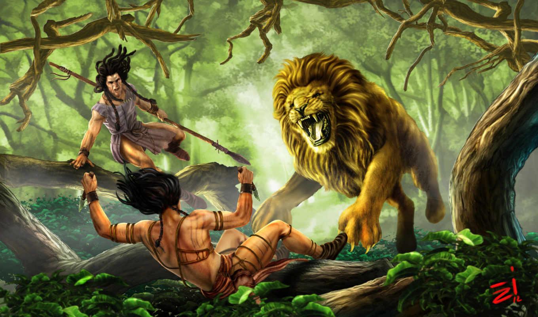 lion, хищник, hunting, wild, jungle, лес, охотники, art, фантастика, knives,