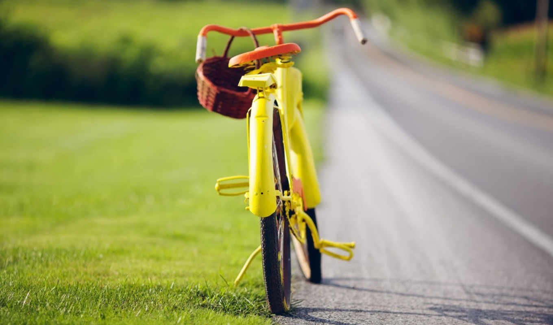 vintage, bike, yellow,