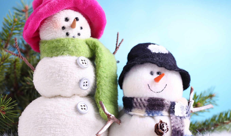 снеговики, новый, год, снеговик, улыбчивые, зима, новогодние, картинка, широкоформатные, картинку, снег,