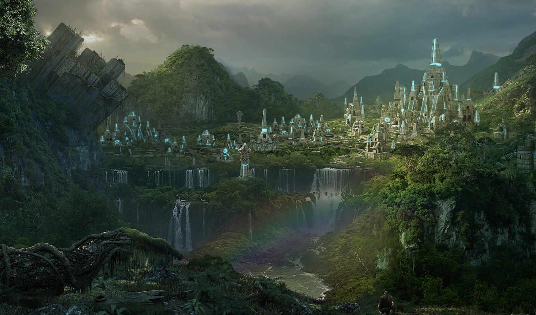 пейзаж, водопады, лес, пирамиды, радуга, город, rise, картинка, legends, картинку, игры,
