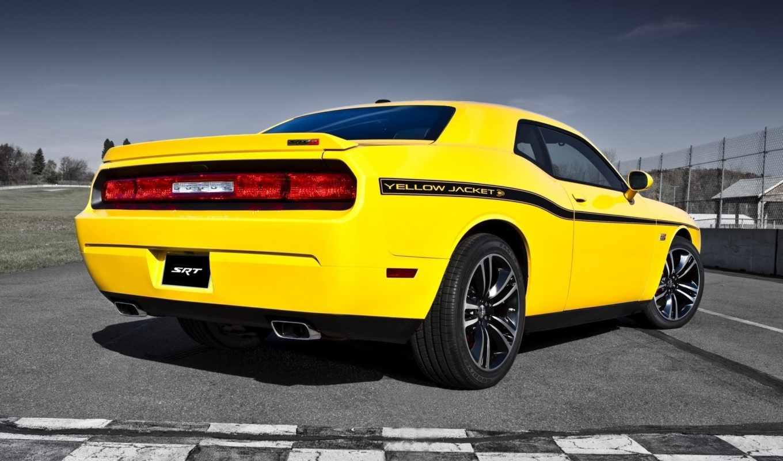 dodge, challenger, srt, yellow, jacket, машины, автомобили, авто, картинка,