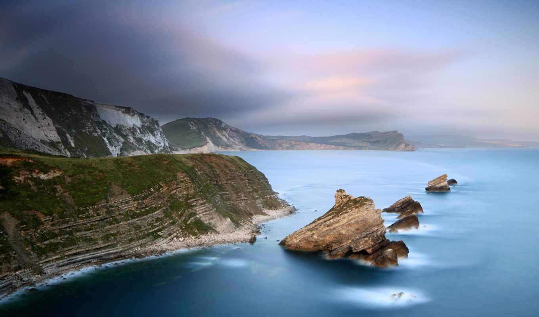 скалы, море, дымка, побережье, сумерки, картинка, deniz,