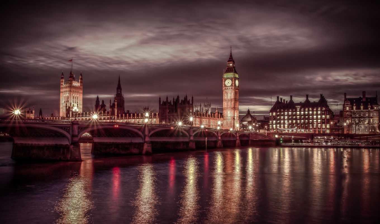 лондон, вечер, мост, биг бен, река,