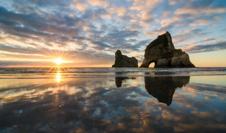 море, небо, закат, природа, нравится, вечер, скала,