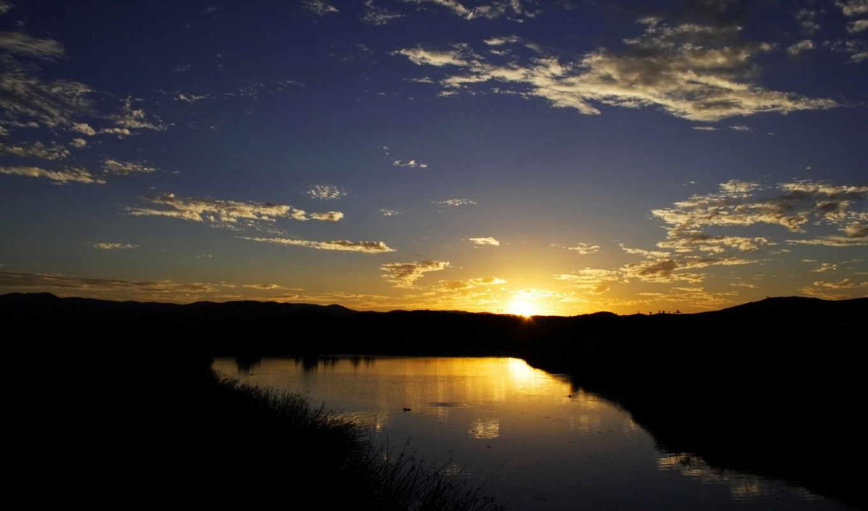 небо, фотографий, oblaka, views, солнца, закат, лес, пейзажей, деревя, пруд, широкоформатные,