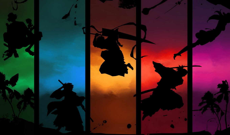 anime, bleach, войны, меч, пальмы,