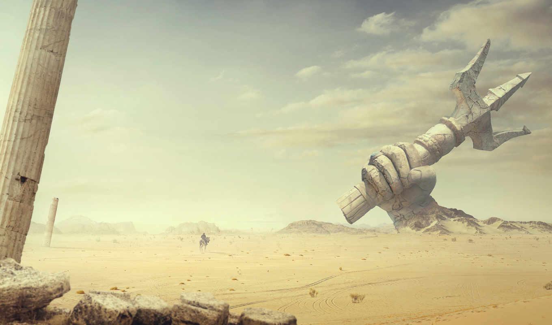 пустыня, креатив, графика, храм, resolutions, desktop, старинный,