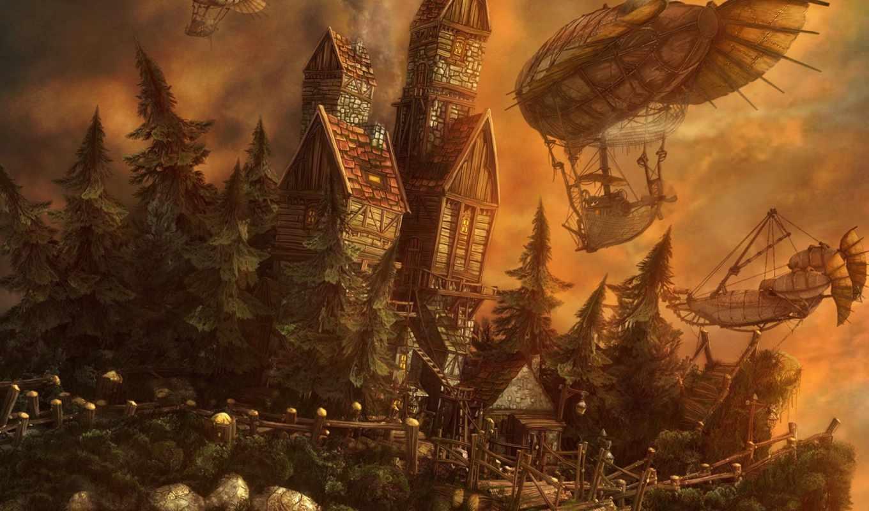 fantasy, девушка, лесу, корабль, castle,