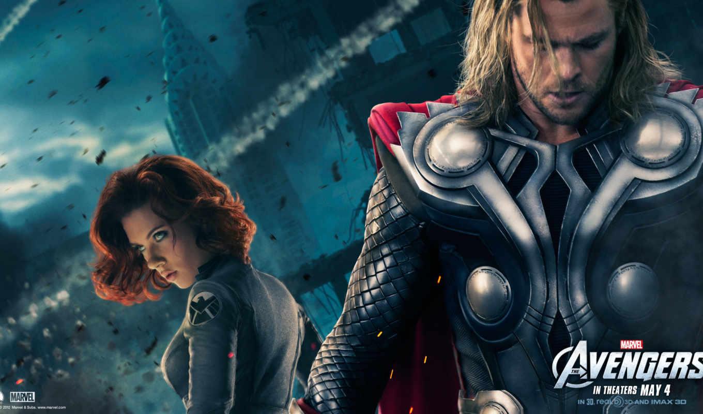 avengers, thor, мстители, йоханссон, скарлетт, крис, хемсворт, desktop, black, widow, resolution, download, click, картинку,