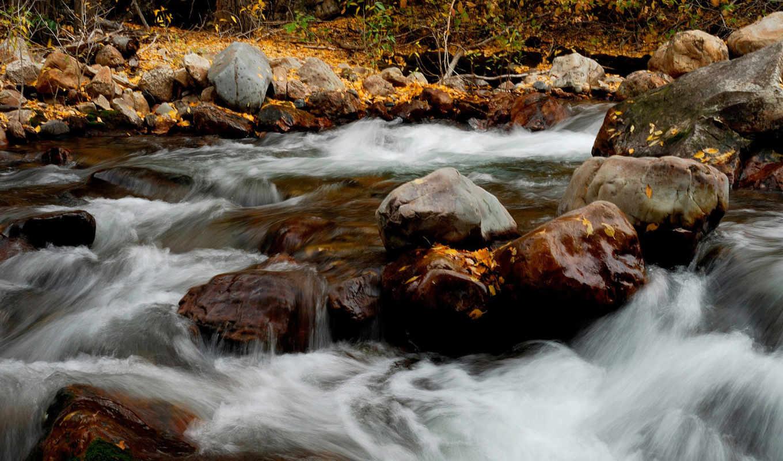 природа, view, mountain, creek, autumn, ручей, изображения, течение, изображение, камни,