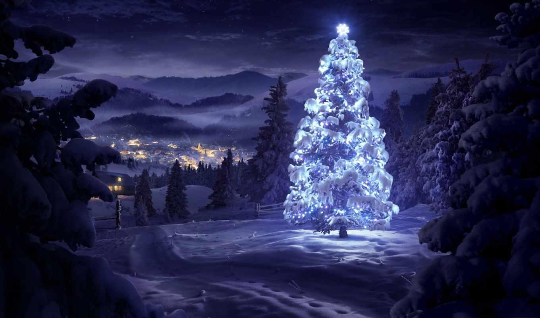 дерево, лесу, рождественская, рисованный, winter, снег, дек, елку,