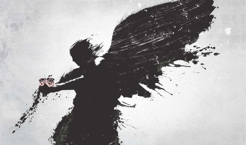 мужчина, цветы, angel, крылья,