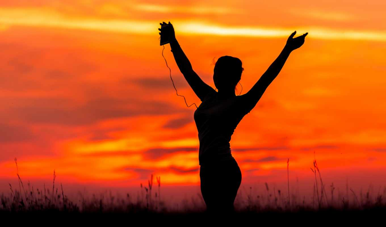 йога, закат, девушка,