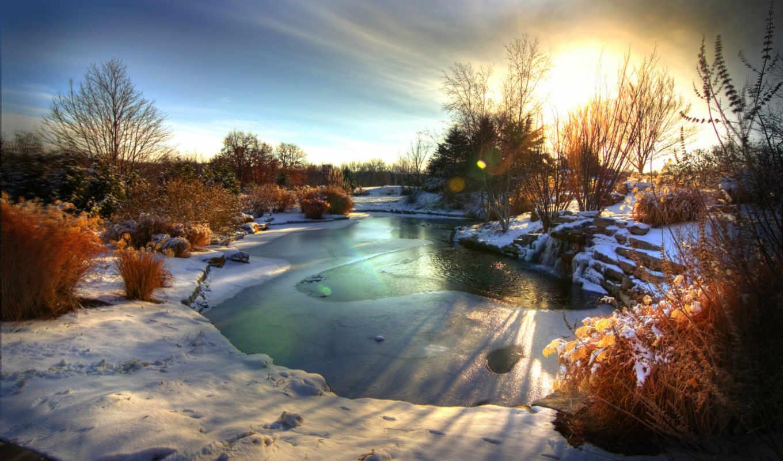 winter, рассвет, снег, река, summer, деревя, озеро,