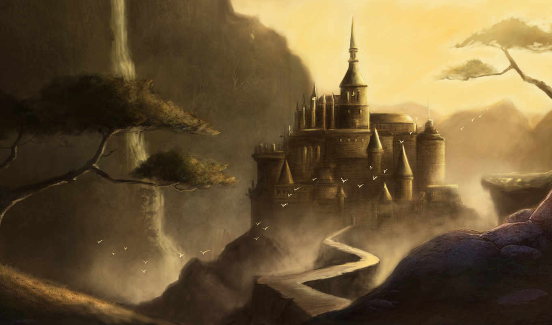 fantasy, castle, стиле, птицы, дорога,