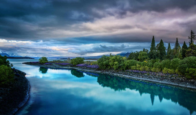 красивые, самые, река, популярные, природа, картинки, скачат, милые, trees, zealand,