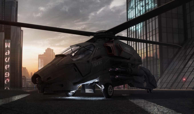 обои, вертолет, закат, крыша, офис, здания, авиаци