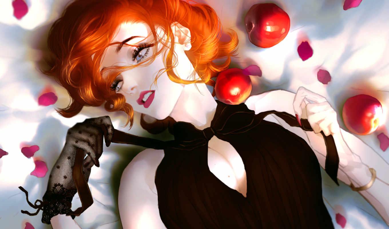 девушка, red, art, платье, rukiana, ago, лепестками, black, окруженная,