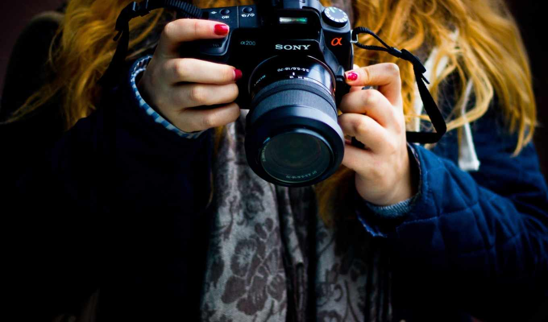 фотоаппарат, sony, девушка, руки, шарф, объектив