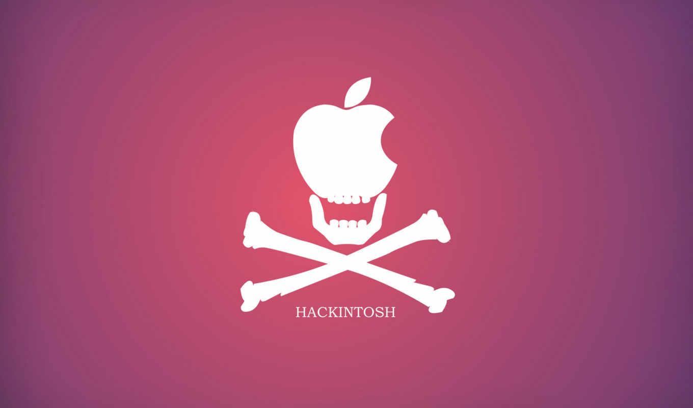 хакинтош, apple, розовый, череп, кости