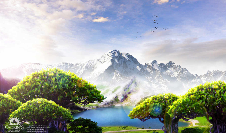 landscape, рисованные, просмотров, горы, страница, качество,