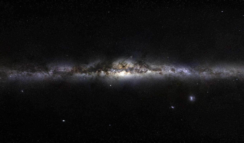 космос, звезды, туманность, млечный, путь, черный, галактика, der, панорама, planets, смотрите,