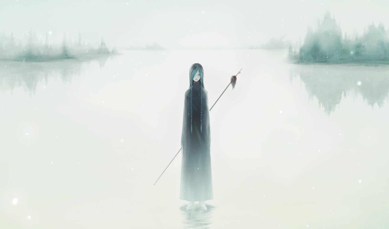 аниме, арт, снег, девочка, река, копьё, картинку, картинка, кнопкой, мыши, правой, save,