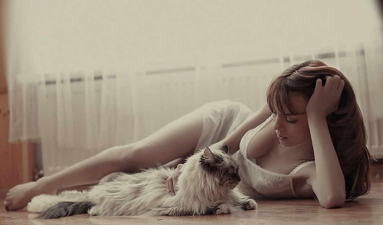нежность, кошка, девушка,