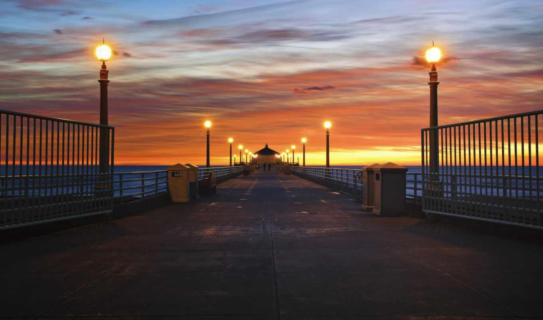 сша, калифорния, франциско, san, ночь, города, мосты, побережье, фонари,