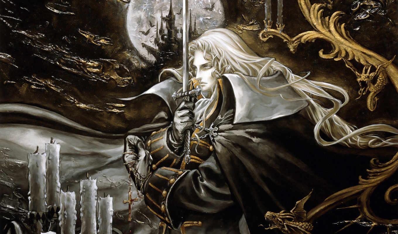 блонд, кросс, граф, меч, vampire, castle, мужчины, art,