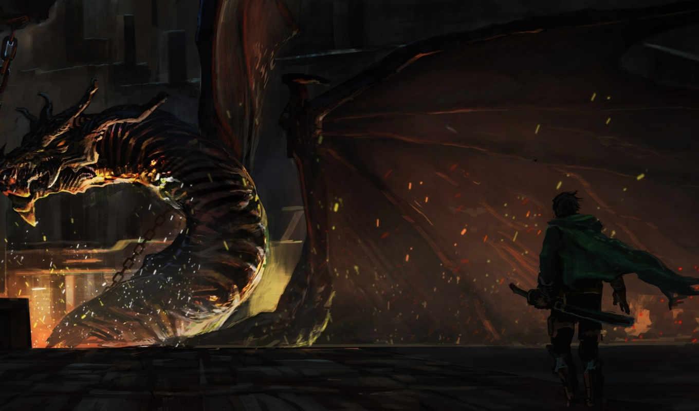 dragon, арт, pictures, огонь, парень, emuson, magic, оружие, sword,
