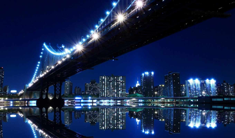 нью, york, город, мост, огни, ночь,