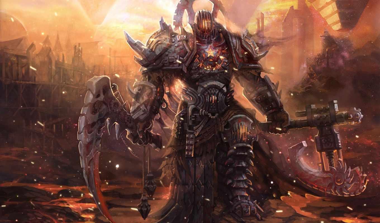 воин, фэнтези, девушка, art, графика, доспех, оружие, fantasy, warhammer,