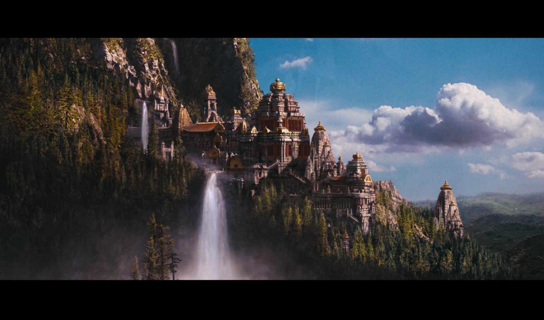 fantasy, castle, art, castles, свет,