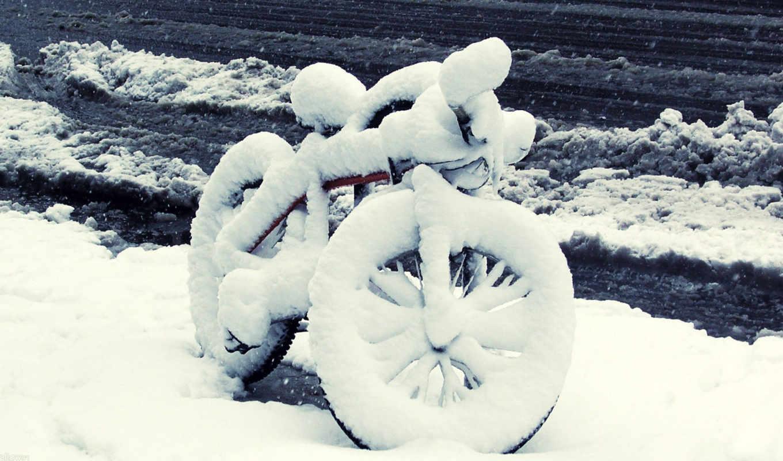 winter, bike, велосипеде,