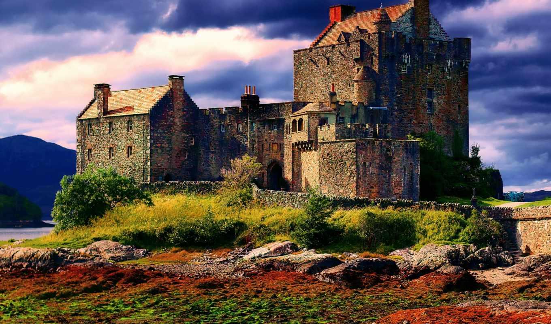 шотландия, castle, осень, донан, eilean, облака,