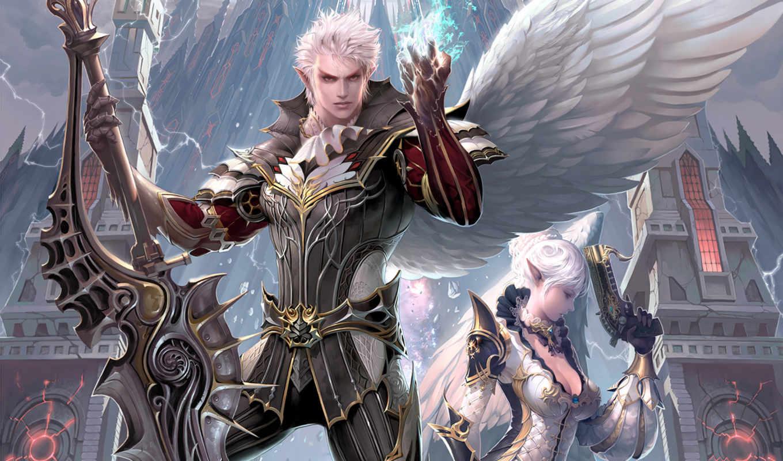 lineage, камаэль, оружие, воин, меч, город, магия, крылья, throne, картинку, игры,