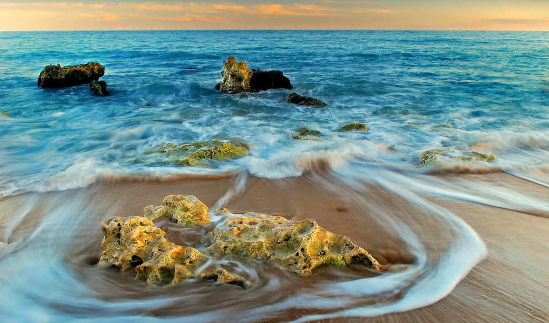 скалы, пляж, категории, пляже, песок, puzzle, природа, закат,