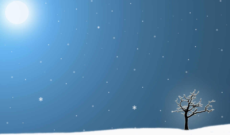 zima, дерево, снежинки, одинокая,