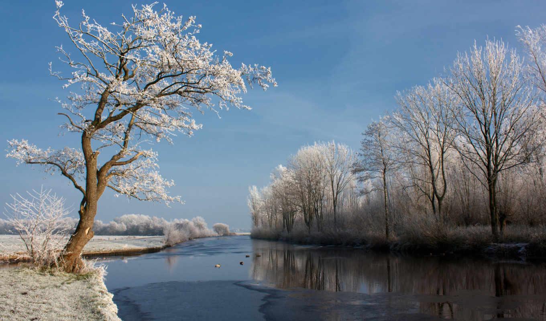 природа, река, небо, winter,