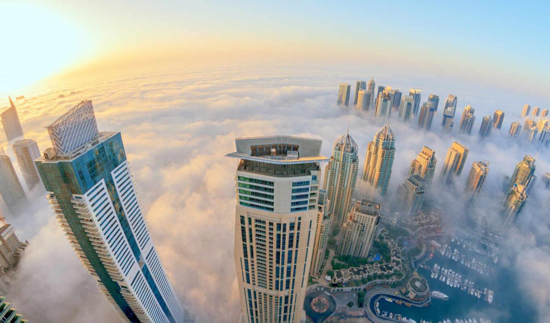 dubai, город, туман, небоскребы, uae,